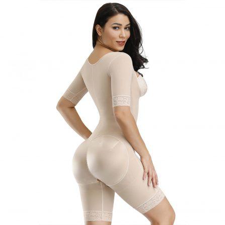 Tummy Control Butt Lifter Shapewear beige back pose